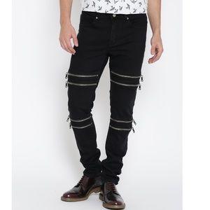 Forever 21 Black Zipper Slim Fit Jeans Skinny Pant